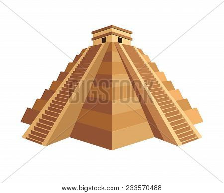 Ancient Great Maya Pyramid With Small Cubic Temple On Top And Long Stairs. Old Building With Huge Hi