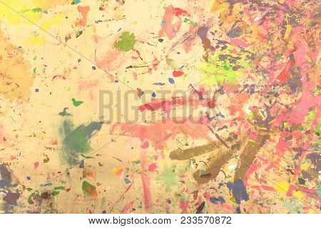 Abstract Grunge Acrylic Hand Painted On Canvas Background