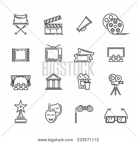 Movie And Cinematography Line Icons. Vector Symbols Set Of Movie Director Chair, Cinema Theater And