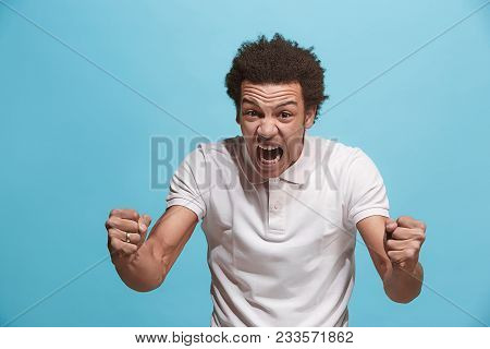 Screaming, Hate, Rage. Crying Emotional Angry Man Screaming On Blue Studio Background. Emotional Afr