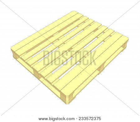 Wooden Pallet On White Background. 3d Illustration