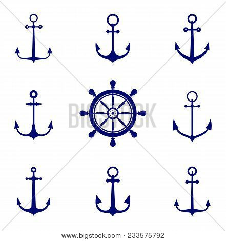 Anchor Icons. Antique And Vintage Marine Anchors Set Isolated On White For Marine And Heraldry Desig