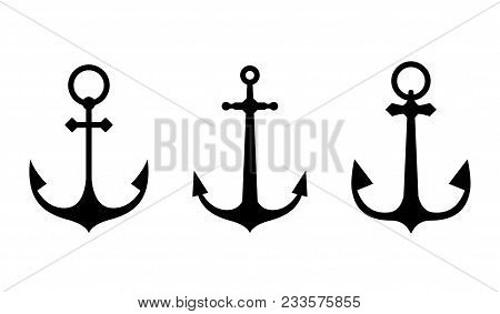 Anchor Icons. A Set Of Silhouettes Of Anchors Isolated On White Background.