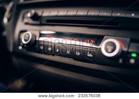 Car Clima Controls, Radio Dashboard And Cockpit Close Up