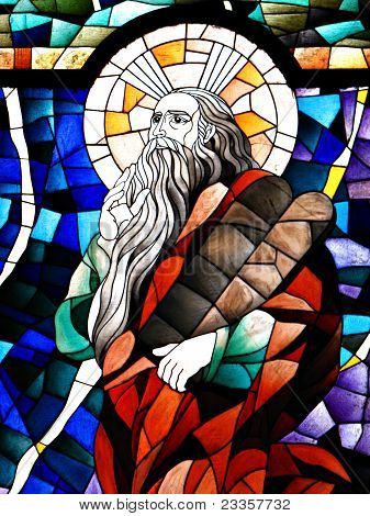 Stained Glass Detail of Prophet Elijah