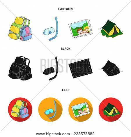 Travel, Vacation, Backpack, Luggage .family Holiday Set Collection Icons In Cartoon, Black, Flat Sty