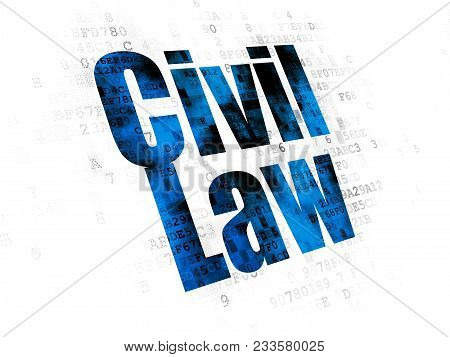 Law Concept: Pixelated Blue Text Civil Law On Digital Background