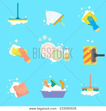 House Cleaning. Wipe The Windows, Wash Clothes, Vacuum The Floor, Wash Dishes. Vector Icons In A Fla