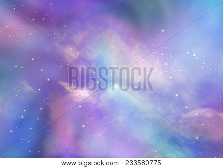 The Beautiful Heavens Above Us - Pink And Blue Deep Space Background With Many Stars, Planets And Cl