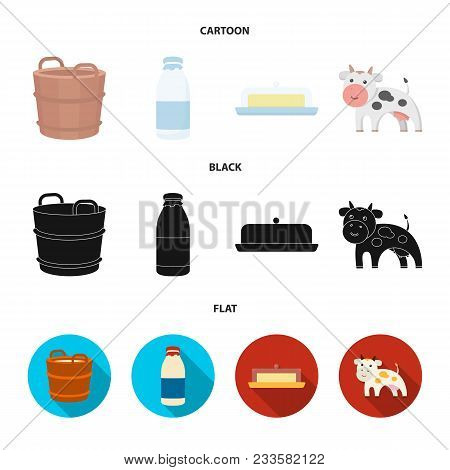 A Barrel Of Milk, Butter, A Cow. Milk Set Collection Icons In Cartoon, Black, Flat Style Vector Symb