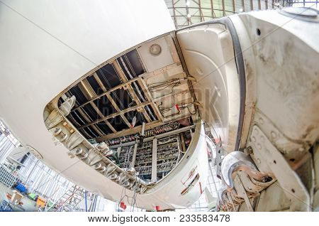 Luggage Compartment Of The Aircraft For Luggage Of Passengers For Maintenance. View Near