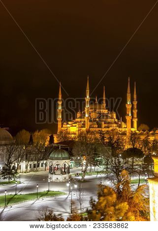 Sultan Ahmed Mosque Known As The Blue Mosque Is A Historic Mosque In Istanbul, Turkey At Night. Vert