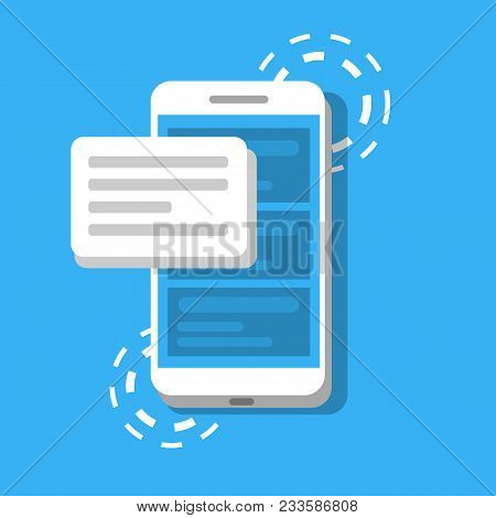 Message Or Sms On The Background Of Phone. Concept Of Chatting Or Correspondence Using Smartphone. V