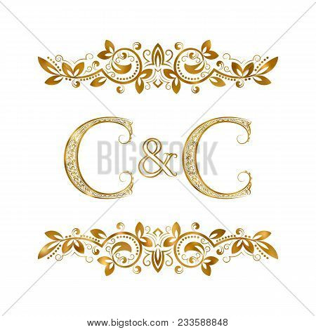 C&c Vintage Initials Logo Symbol. Two Letters C, Ampersand Surrounded Floral Ornament. Wedding Or Bu