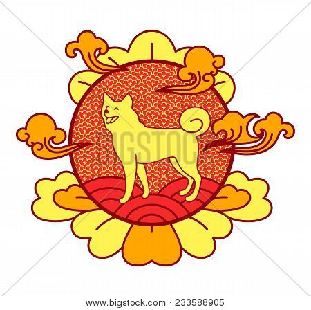 Chinese Happy New Year, Image Of Cheerful And Cute Dog Placed In Centerpiece Of Circle, Cloud And Le