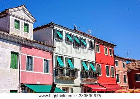Daylight View To Vibrant Colorful Buildings Facade