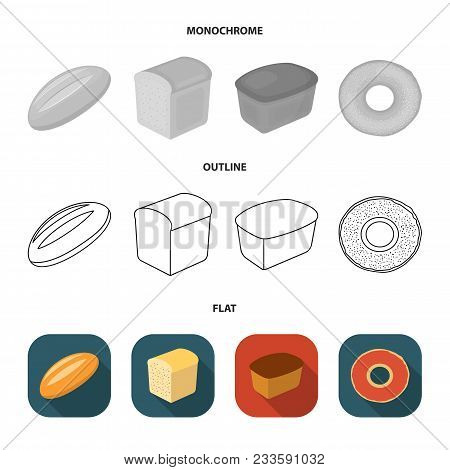 Rye Round Bread, A Croissant, A French Loaf, A Bag Of Bread.bread Set Collection Icons In Flat, Outl