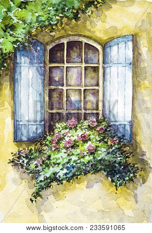 A house covered with flowers. Flowers on the open window in watercolor. A house with roses. Watercolor summer landscape. Watercolor illustration. Window with flowers. Roses blossom in the garden in watercolor. Blossom trees