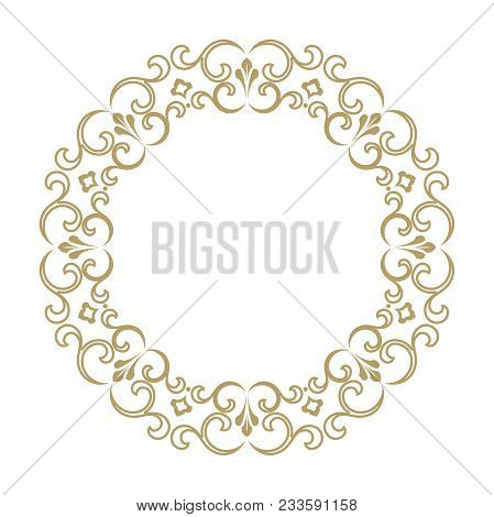 Vintage Round Frame In Retro Style, Barroco. Flower Decorative Gold Ornament, Element For Greeting C