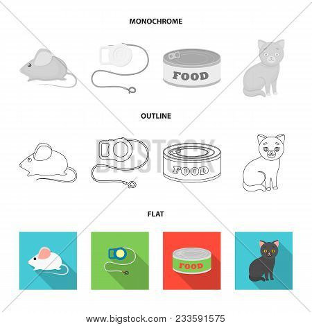 Cat Eyes, A Collar, A House For A Cat, A Medal On A Ribbon.cat Set Collection Icons In Flat, Outline