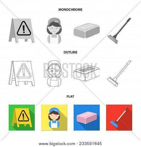 Cleaning And Maid Flat, Outline, Monochrome Icons In Set Collection For Design. Equipment For Cleani