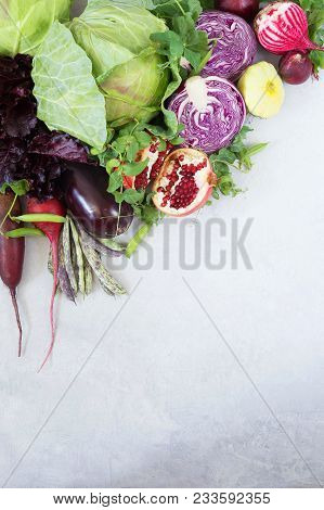 Fresh Vegetables And Fruit On A Gray Background. A Place For A Label. Healthy Eating.