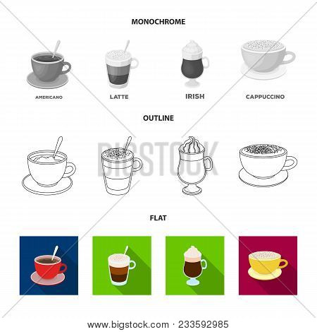 Mocha, Macchiato, Frappe, Take Coffee.different Types Of Coffee Set Collection Icons In Flat, Outlin