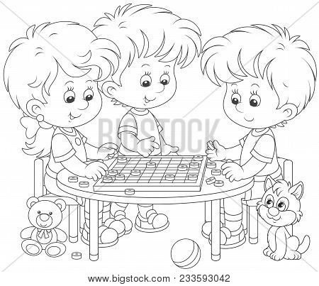 Little Children Playing Checkers, A Black And White Vector Illustration In A Cartoon Style For A Col