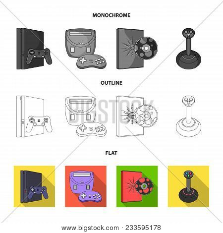 Game And Tv Set-top Box Flat, Outline, Monochrome Icons In Set Collection For Design.game Gadgets Ve