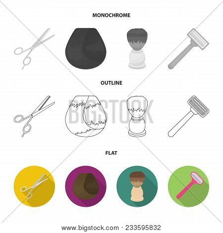 Scissors, Brush, Razor And Other Equipment. Hairdresser Set Collection Icons In Flat, Outline, Monoc