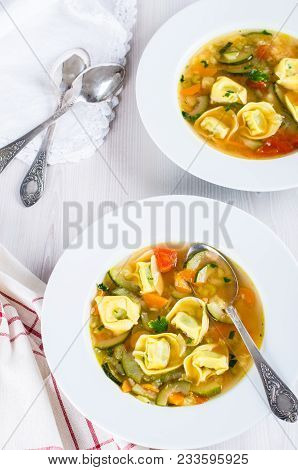 Rustic Homemade Vegetable Tortellini Soup Italian Style