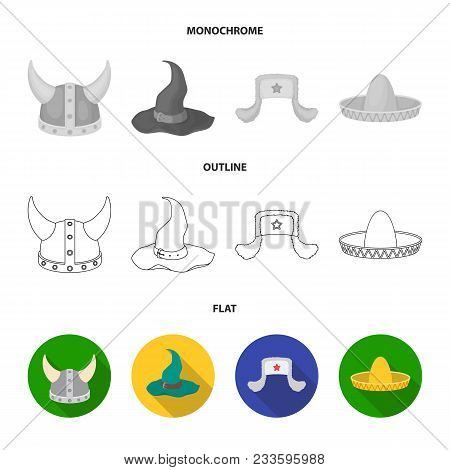 Crown, Jester Cap, Cook, Cone. Hats Set Collection Icons In Flat, Outline, Monochrome Style Vector S