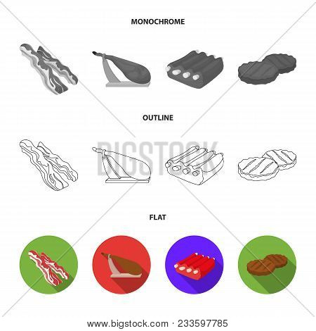 Chicken Wings, Ham, Raw Steak, Beef Cubes. Meat Set Collection Icons In Flat, Outline, Monochrome St