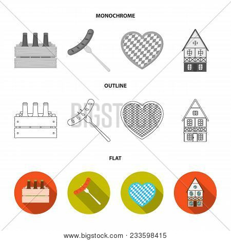 Tyrolean Hat, Accordion, Dress, Pretzel. Oktoberfestset Collection Icons In Flat, Outline, Monochrom
