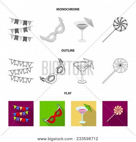 Tricks, Music And Other Accessories At The Party.party And Partits Set Collection Icons In Flat, Out