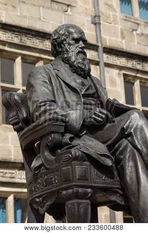 Bronze Statue Of Charles Robert Darwin Outside The County Library In Shrewsbury England Erected In 1