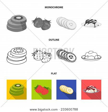 Fruits And Other Food. Food Set Collection Icons In Flat, Outline, Monochrome Style Vector Symbol St