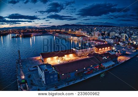Aerial View Of Harbor And City Thessaloniki At Night, Greece.