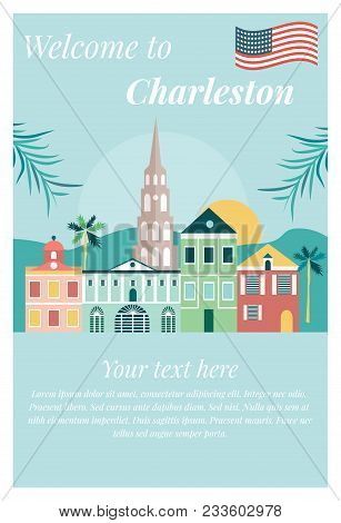 Welcome To Charleston Vintage Poster With Landmarks.