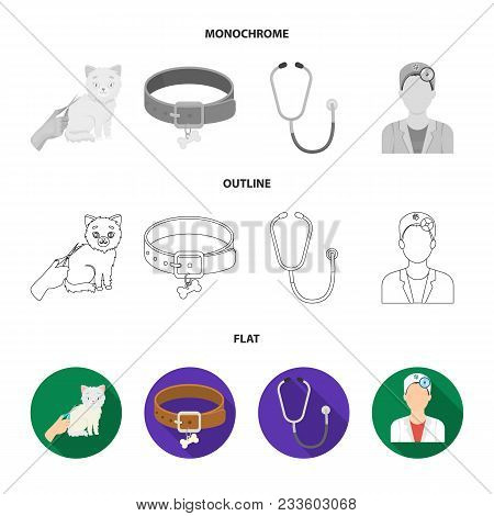 Collar, Bone, Cat, Haircut .vet Clinic Set Collection Icons In Flat, Outline, Monochrome Style Vecto