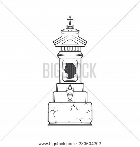 Vector Isolated Image Of A Female Obelisk Grave Headstone. Silhouette Of A Female Head Profile. Vase