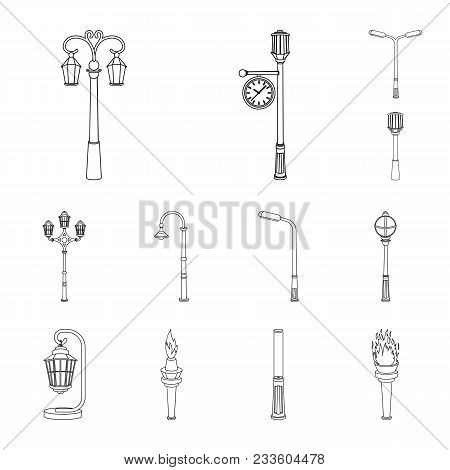 Lamp Post Outline Icons In Set Collection For Design. Lantern And Lighting Vector Symbol Stock  Illu