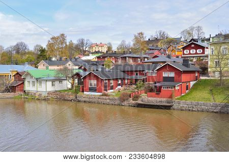 Porvoo, Finland. The Old Wooden Houses In A Sunny Spring Day