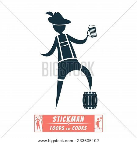 Vector Image Chef Cook Stick Figure And Cooked Them Meals Bavarian, Tyrolean, German, Beer, Shorts,