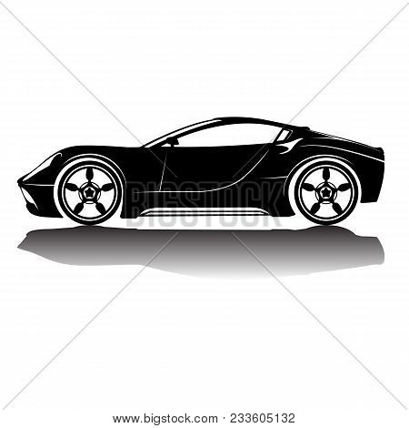 Car Silhouette In Black With Details.vector Isolated Car Silhouette Image. Black Silhouette. Car Wit