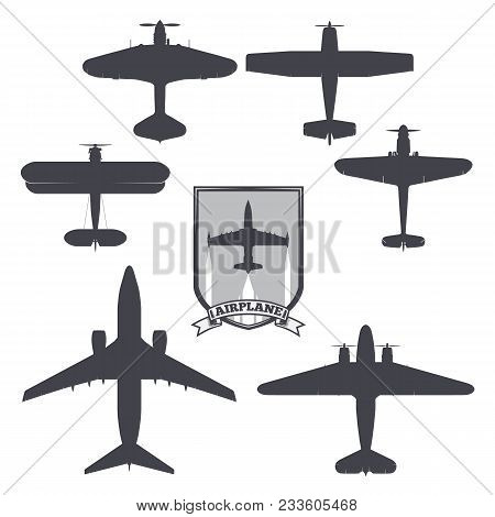 Vector Image Of Silhouettes Of Planes From Different Eras And Countries. Coat Of Arms On The Backgro