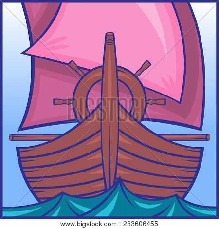 Icon Depicting A Sailing Ship In The Sea On The Waves. Prow Of A Ship, The Steering Wheel, Pink Sail