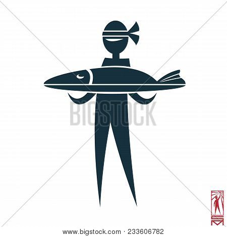 Vector Image Chef Cook Stisk Figure And Cooked Them Meals Eastern, Japanese, Korean, Fish; Sturgeon;