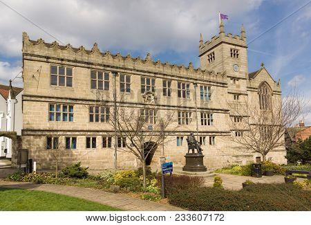 Shrewsbury United Kingdom - March 21 2018: Shrewsbury Library On Castle Gates Once A School Establis