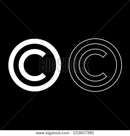 Copyright Symbol Icon Set White Color Vector Illustration Flat Style Simple Image